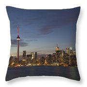 View Over Lake Ontario Of The Downtown Throw Pillow