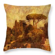 View Over The Forum In Rome Throw Pillow