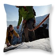 View Past Rope To Climbers Helping Team Throw Pillow