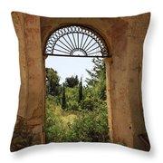 View Through The Monastery Window Throw Pillow