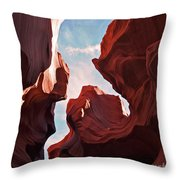 View To The Heavens From Antelope Canyon In Arizona Throw Pillow