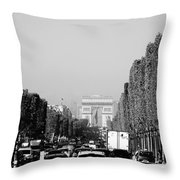 View Up The Champs Elysees Towards The Arc De Triomphe In Paris France  Throw Pillow