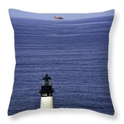 Viewing The Newport Lighthouse Throw Pillow