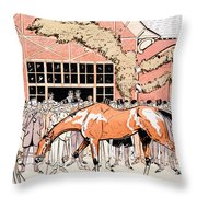Viewing The Racehorse In The Paddock Throw Pillow