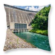 Views Of Man Made Dam At Lake Fontana Great Smoky Mountains Nc Throw Pillow