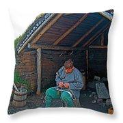 Viking Fisherman At L'anse Aux Meadows-nl  Throw Pillow