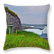 Viking House On Fishing  Point In Saint Anthony-nl Throw Pillow
