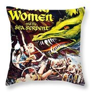 Viking Women And The Sea Serpent Poster Throw Pillow by Gianfranco Weiss
