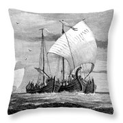 Vikings Cross The North Sea Throw Pillow