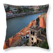 Vila Nova De Gaia And Porto In Portugal Throw Pillow
