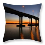 Vilano Bridge At Dusk St Augustine Florida Throw Pillow