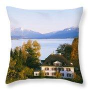 Villa At The Waterfront, Lake Zurich Throw Pillow