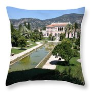 Villa Ephrussi De Rothschild And Garden Throw Pillow