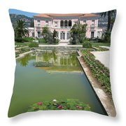 Villa Ephrussi De Rothschild With Reflection Throw Pillow