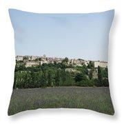 Village Beyond The Lavender Field Throw Pillow