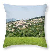 Village Beyond The Wheat Field Throw Pillow