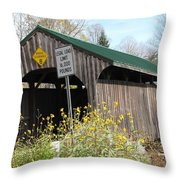 Village Bridge Waterville Vermont Throw Pillow