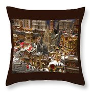 Village Christmas Scene Throw Pillow