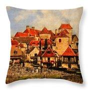 Village De Fleuris Throw Pillow