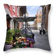 Village Flowershop Throw Pillow