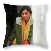 Village Girl India Throw Pillow