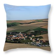 Village In A French Landscape  Throw Pillow