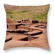 Village In Atlas Mountains In Morocco Throw Pillow