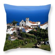 Village In Azores Islands Throw Pillow