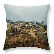 Village In Sikkim Throw Pillow