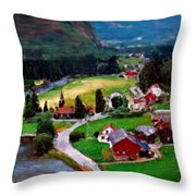 Village In The Mountains Throw Pillow