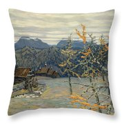 Village In The Ural Mountains Throw Pillow