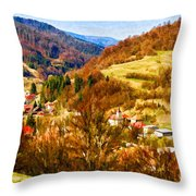 Village In The Valley Throw Pillow