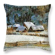 Village In Winter Throw Pillow