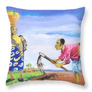 Village Life In Cameroon 01 Throw Pillow