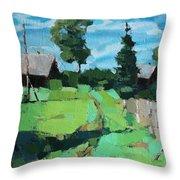 Village Meadow Throw Pillow