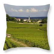 Village Of Aloxe Corton. Cote D'or. Burgundy. France Throw Pillow