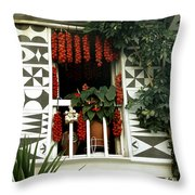 Village Of Pyrgi Greece Throw Pillow