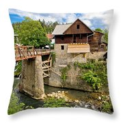 Village Of Rastoke River Canyon Throw Pillow