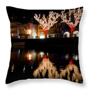 Village Reflected In The Water Throw Pillow