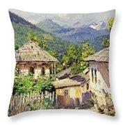 Village Scene In The Mountains Throw Pillow