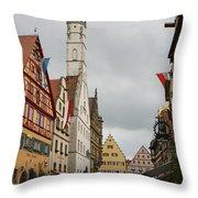 Village Scene Rothenburg Ob Der Tauber Throw Pillow