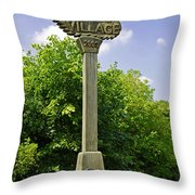 Village Sign For Linton - Derbyshire Throw Pillow