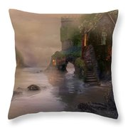 Villages By The Foggy Sea   Throw Pillow