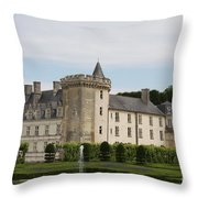 Villandry Chateau And Boxwood Garden Throw Pillow