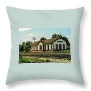 Villisca Train Depot Throw Pillow