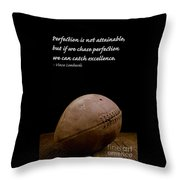 Vince Lombardi On Perfection Throw Pillow