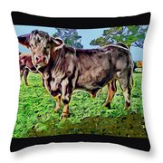 Vince The Bull Throw Pillow