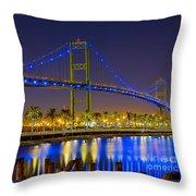 Vincent Thomas Bridge - Nightside Throw Pillow