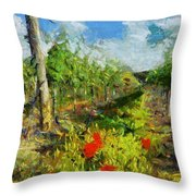 Vineyard And Poppies Throw Pillow
