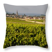 Vineyard In Front Of The Village Of Meursault. Burgundy Wine Road. Cote D'or.burgundy. France. Europ Throw Pillow